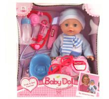 Кукла пупс Baby Doll + набор доктора, горшок и соска (пьет, писает), 35 см. Цвет голубой. Арт. YL1713F