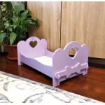 Кроватка для кукол деревянная (подходит для больших кукол 49 см). Цвет сиреневый. Арт. KMO-10