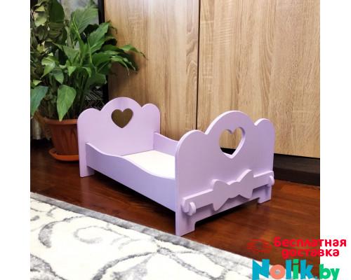 Кроватка для кукол деревянная (подходит для больших кукол 49 см). Цвет сиреневый. Арт. KMO-10 в Минске