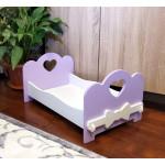 Деревянная кроватка для кукол (подходит для больших кукол 49 см). Цвет сиреневый с белым . Арт. KMO-11