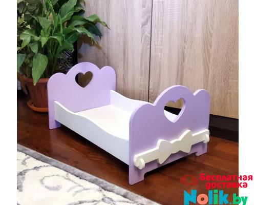 Деревянная кроватка для кукол (подходит для больших кукол 49 см). Цвет сиреневый с белым . Арт. KMO-11 в Минске