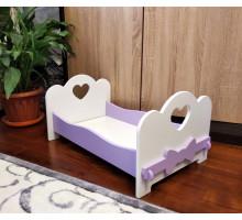 Детская деревянная кроватка для кукол (подходит для больших кукол 49 см). Цвет белый с сиреневым. Арт. KMO-12