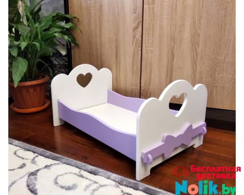 Детская деревянная кроватка для кукол (подходит для больших кукол 49 см). Цвет белый с сиреневым. Арт. KMO-12 в Минске