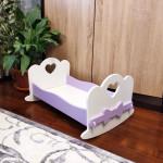 Кроватка для кукол качалка деревянная (подходит для больших кукол 49 см). Цвет белый с сиреневым. Арт. KMO-15K