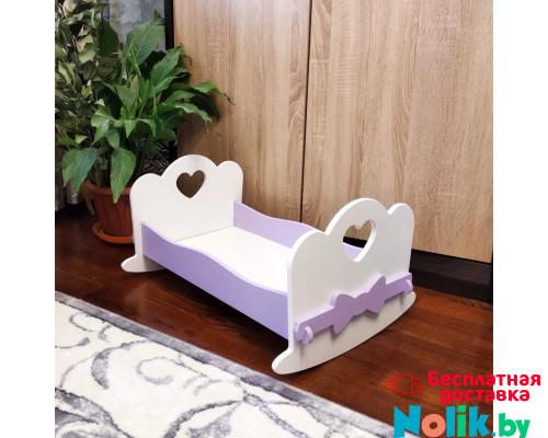 Кроватка для кукол качалка деревянная (подходит для больших кукол 49 см). Цвет белый с сиреневым. Арт. KMO-15K в Минске