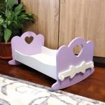 Игровая кроватка качалка для кукол деревянная (подходит для больших кукол 49 см). Цвет сиреневый с белым. Арт. KMO-16K