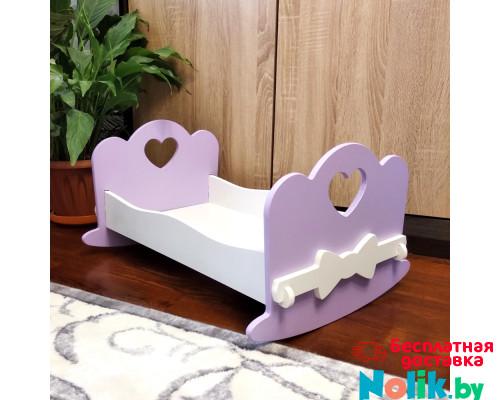 Игровая кроватка качалка для кукол деревянная (подходит для больших кукол 49 см). Цвет сиреневый с белым. Арт. KMO-16K в Минске