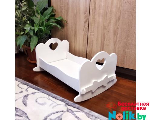 Кроватка качалка для больших кукол деревянная (подходит для больших кукол 49 см). Цвет белым. Арт. KMO-17K в Минске