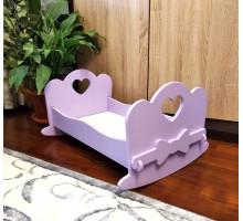 Кроватка качалка для больших кукол деревянная (подходит для больших кукол 49 см). Цвет сиреневый. Арт. KMO-14K