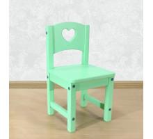 """Стул детский деревянный """"Сердечко"""". Высота до сиденья 27 см. Цвет фисташковый. Арт. SO-27-s"""