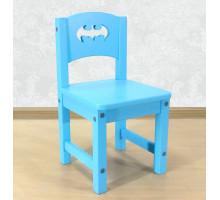 """Детский стульчик деревянный """"Бэтмен"""". Высота до сиденья 27 см. Цвет голубой. Арт. SO-27-b"""