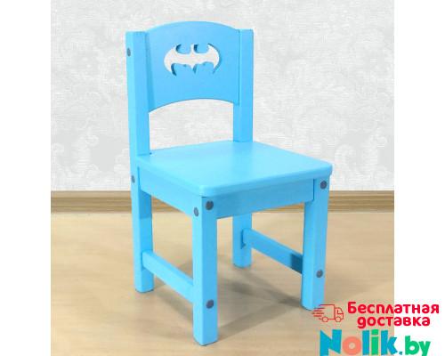 """Детский стульчик деревянный """"Бэтмен"""". Высота до сиденья 27 см. Цвет голубой. Арт. SO-27-b в Минске"""