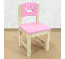 """Стульчик детский из массива деревянный """"Принцесса"""". Высота до сиденья 27 см. Цвет розовый с натуральным. Арт. SN-27-p"""