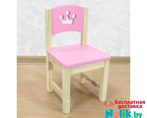 """Стульчик детский из массива деревянный """"Принцесса"""". Высота до сиденья 27 см. Цвет розовый с натуральным. Арт. SN-27-p в Минске"""