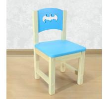 """Стульчик деревянный детский из массива """"Бэтмен"""". Высота до сиденья 27 см. Цвет голубой с натуральным. Арт. SN-27-b"""