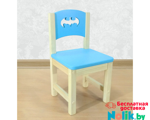 """Стульчик деревянный детский из массива """"Бэтмен"""". Высота до сиденья 27 см. Цвет голубой с натуральным. Арт. SN-27-b в Минске"""