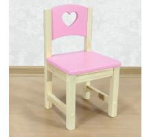 """Стульчик детский из массива """"Сердечко"""". Высота до сиденья 27 см. Цвет розовый с натуральным. Арт. SN-27-s"""