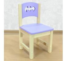 """Стульчик детский из массива дерева """"Бэтмен"""". Высота до сиденья 27 см. Цвет сиреневый с натуральным. Арт. SN-27-b"""