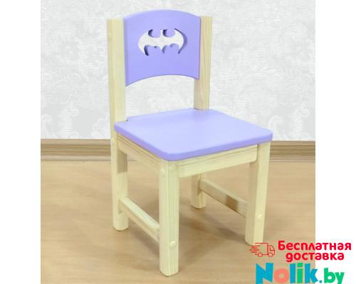 """Стульчик детский из массива дерева """"Бэтмен"""". Высота до сиденья 27 см. Цвет сиреневый с натуральным. Арт. SN-27-b в Минске"""