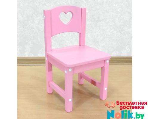 """Стульчик детский деревянный """"Сердечко"""". Высота до сиденья 27 см. Цвет розовый. Арт. SO-27-s в Минске"""