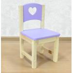 """Стул детский деревянный """"Сердечко"""". Высота до сиденья 27 см. Цвет сиреневый с натуральным. Арт. SN-27-s"""