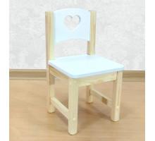 """Стульчик детский деревянный из массива """"Сердечко"""". Высота до сиденья 27 см. Цвет белый с натуральным. Арт. SN-27-s"""