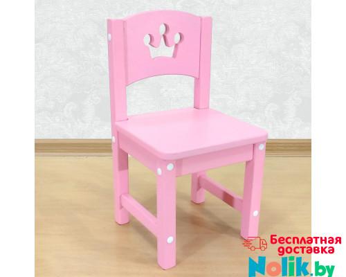 """Стульчик детский деревянный из массива """"Принцесса"""". Высота до сиденья 27 см. Цвет розовый. Арт. SO-27-p в Минске"""