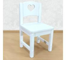 """Стул детский деревянный """"Сердечко"""". Высота до сиденья 27 см. Цвет белый. Арт. SO-27-s"""