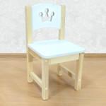 """Стульчик деревянный детский из массива """"Принцесса"""". Высота до сиденья 27 см. Цвет белый с натуральным. Арт. SN-27-p"""