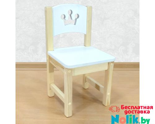 """Стульчик деревянный детский из массива """"Принцесса"""". Высота до сиденья 27 см. Цвет белый с натуральным. Арт. SN-27-p в Минске"""