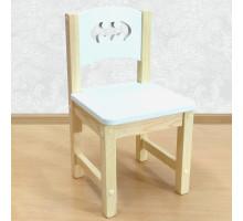 """Детский деревянный стульчик """"Бэтмен"""". Высота до сиденья 27 см. Цвет белый с натуральным. Арт. SN-27-b"""