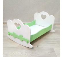 Кроватка для кукол качалка деревянная (подходит для больших кукол 49 см). Цвет белый с салатовым. Арт. KMO-18K