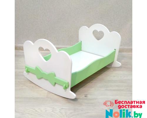 Кроватка для кукол качалка деревянная (подходит для больших кукол 49 см). Цвет белый с салатовым. Арт. KMO-18K в Минске