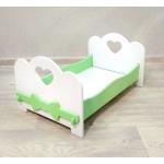 Детская деревянная кроватка для кукол (подходит для больших кукол 49 см). Цвет белый с салатовым. Арт. KMO-19