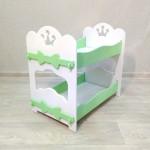 Кроватка для кукол деревянная двухъярусная (подходит для больших кукол 49 см). Цвет белый с салатовым. Арт. 2R-KMO-2