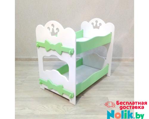 Кроватка для кукол деревянная двухъярусная (подходит для больших кукол 49 см). Цвет белый с салатовым. Арт. 2R-KMO-2 в Минске
