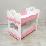 Кроватка для кукол двухъярусная деревянная (подходит для больших кукол 49 см). Цвет белый с розовым. Арт. 2R-KMO-1
