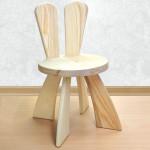 Детский деревянный стульчик с ушками Зайчик. Высота до сиденья 27 см. Цвет натуральный. Арт. SZ-27-N
