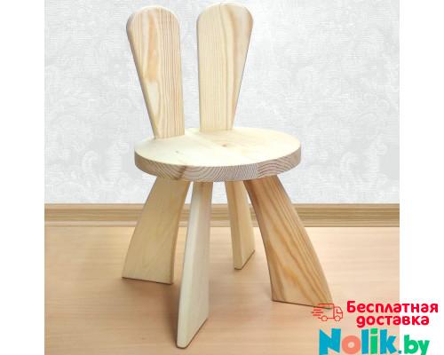 Детский деревянный стульчик с ушками Зайчик. Высота до сиденья 27 см. Цвет натуральный. Арт. SZ-27-N в Минске