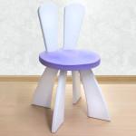 Детский стульчик с ушками Зайчик деревянный из массива. Высота до сиденья 27 см. Цвет белый с сиреневым. Арт. SZ-27-O
