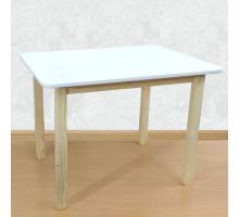 Детский деревянный столик со скругленными углами для игр и занятий (столешница МДФ 70*50см). Высота 50 см. Цвет белый с натуральным. Арт. 7050NW