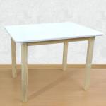 Детский деревянный столик со скругленными углами для игр и занятий (столешница ламинированное МДФ 70*50см). Высота 50 см. Цвет белый с натуральным. Арт. 7050NW