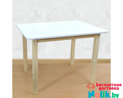 Детский деревянный столик со скругленными углами для игр и занятий (столешница ламинированное МДФ 70*50см). Высота 50 см. Цвет белый с натуральным. Арт. 7050NW в Минске