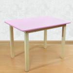 Деревянный детский столик со скругленными углами для игр и занятий (столешница МДФ 70*50см). Высота 50 см. Цвет розовый с натуральным. Арт. 7050NR
