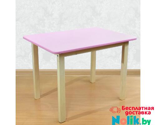 Деревянный детский столик со скругленными углами для игр и занятий (столешница МДФ 70*50см). Высота 50 см. Цвет розовый с натуральным. Арт. 7050NR в Минске
