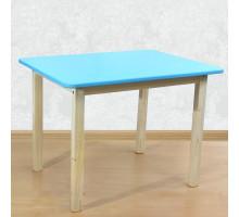 Детский стол со скругленными углами деревянный (столешница МДФ 70*50см). Высота 50 см. Цвет голубой с натуральным. Арт. 7050NB