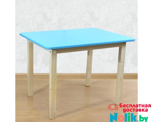 Детский стол со скругленными углами деревянный (столешница МДФ 70*50см). Высота 50 см. Цвет голубой с натуральным. Арт. 7050NB в Минске