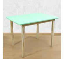 Детский деревянный столик со скругленными углами для игр и занятий (столешница МДФ 70*50см). Высота 50 см. Цвет салатовый с натуральным. Арт. 7050NF