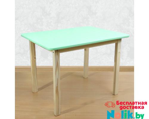 Детский деревянный столик со скругленными углами для игр и занятий (столешница МДФ 70*50см). Высота 50 см. Цвет салатовый с натуральным. Арт. 7050NF в Минске
