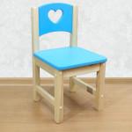 """Стульчик детский деревянный из массива """"Сердечко"""". Высота до сиденья 27 см. Цвет голубой с натуральным. Арт. SN-27-s"""